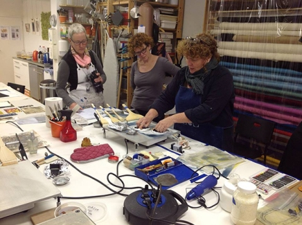 Catherine Nash demonstrating encaustic monotype in the Netherlands, Nov 2013