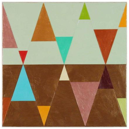Joanne_Mattera_Chromatic Geometry 17, encaustic on panel, 12x12, 2013