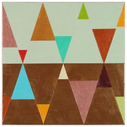 Joanne_Mattera_Chromatic Geometry 17, encaustic on panel, 12x12, 2013