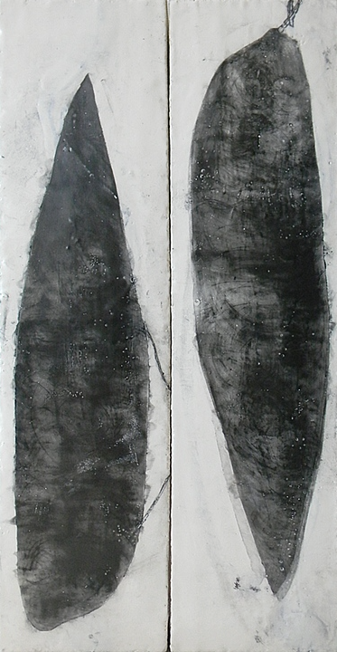 "Toby Sisson, Parallel Lives, encaustic, oil, & graphite on wood, 48"" x 24"", 2011"