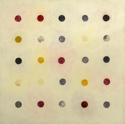 "Tracey Adams, (r)evolution 2, encaustic & collage, 40"" x 40"""