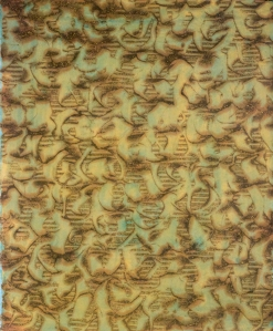 """While I am concerned with mark-making and calligraphy in this series, I am always highly influenced by nature, and particularly plant forms. #116 takes on a dance-like quality of falling leaves""--Jane Allen Nodine, Encaustic monotype"