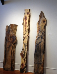 Christine Shannon AaronEcho I, lithographic monoprint, asian paper, and encaustic on wood. Echo III and Echo II from left to right,