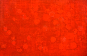 Adams_r(evolution) 7 (Red Tide), encaustic and collage on panel, 30x46, 2014
