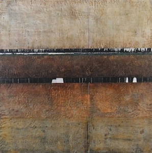 "Jeff Juhlin, Deep Time, 30"" x 30"", encaustic and mixed media on panel, 2014"