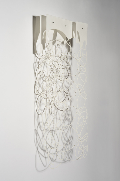 Milisa Galazzi Waggle Dance Four 2013 Paper, thread, bees wax, damar resin 48 x 24 x 8 inches