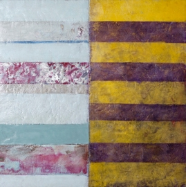 "Myriam F. Levy, Quer ll, 2013, encaustic on canvas, 12"" x 12"""