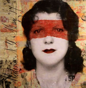 "Unmistakably Rothman: Marybeth Rothman, Correction to the correction: Mattie, 2011, photo collage, encaustic and mixed media, 40"" x 40"". Complicating the issue here are those purporting to ""teach"" Rothman's technique. If it's an ""esque,"" it's not a Rothman. And if it's not a Rothman, it's an imitation. (Rothman herself does not teach.) Photo courtesy of the artist"