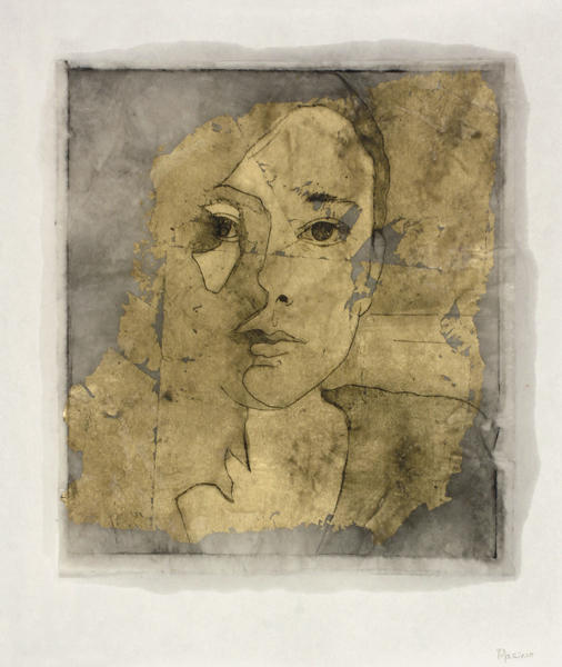 Alexandre Masino Je touche au monde IV  2014 Intaglio, gold leaf & encaustic monoprint on Kozo paper 12.5 x 10.5 inches