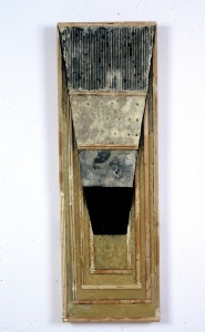 "Lynda Ray, Talus Unit, 1991, beeswax, wood, found metal, 48"" x 16"" x 6"""