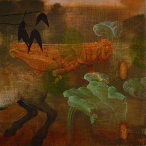 "Timothy McDowell, Symbiotic Relationship, 2010, oil on wood, 36"" x 36"""
