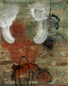 """Timothy McDowell, Wings to Steam, 2012, encaustic on paper (National Geographic map verso side) over canvas, 20"""" x 16"""""""