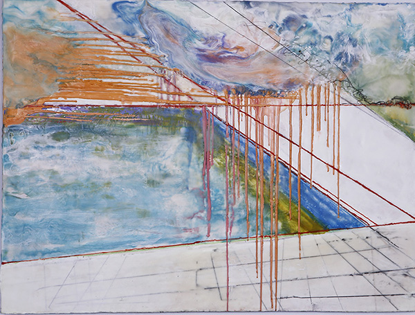 "Binnie Birstein, A.I.R., 2014, encaustic and graphite on panel, 30"" x 40"""