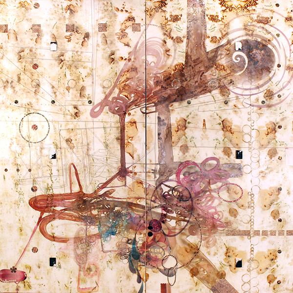 "Lorraine Glessner, Under the Bridge, 2013; encaustic, mixed media, horse and human hair on composted and branded silk on wood, 48"" x 48"""