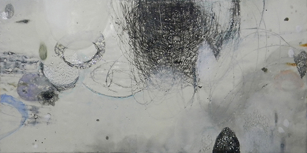 "Toby Sisson, Timeline of Seemingly Unrelated Events IV, 2010; encaustic, oil, charcoal, and silver leaf on wood, 24"" x 48"""