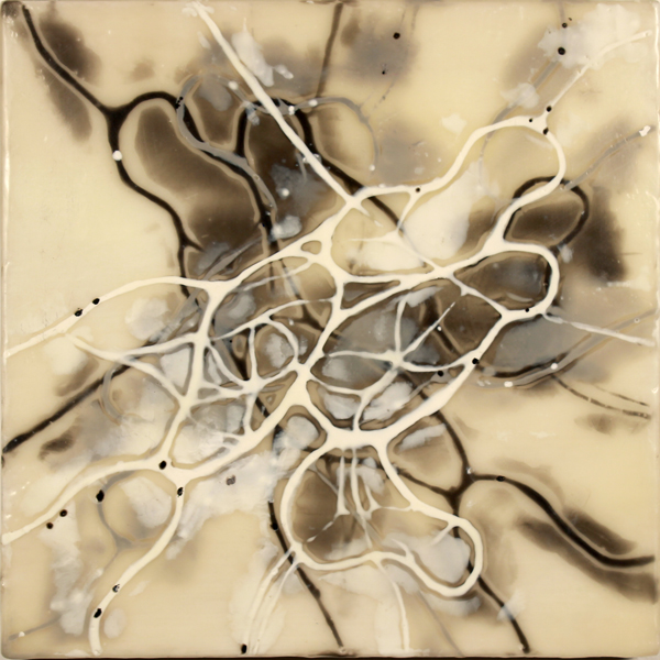"Pamela Wallace, Brood, 2014, encaustic on panel, 8"" x 8"""