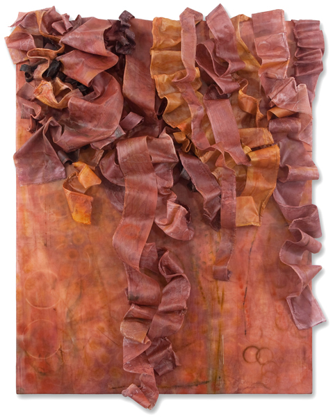 "Deborah Winiarski, Saffron III, 2014; encaustic, fabric, thread, oil on panel, 25"" x 21"" x 5"""