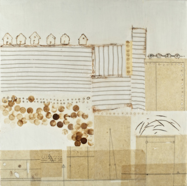 "Francesca Azzara, View From My Dream, 2011; encaustic, fabric, paper and oil stick; 24"" x 24"""