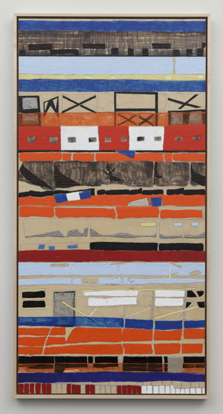 "Cora Jane Glasser, Six Stories, 2012; encaustic, oil, pencil on six wood panels; 61 ¾"" x 31 ¾"" (including built-in frame)"