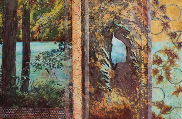 "Judy Klich, Tree Hollow Dream Catcher, 2014; encaustic, oil, photo transfers and metallic pigment; 32"" x 48"""