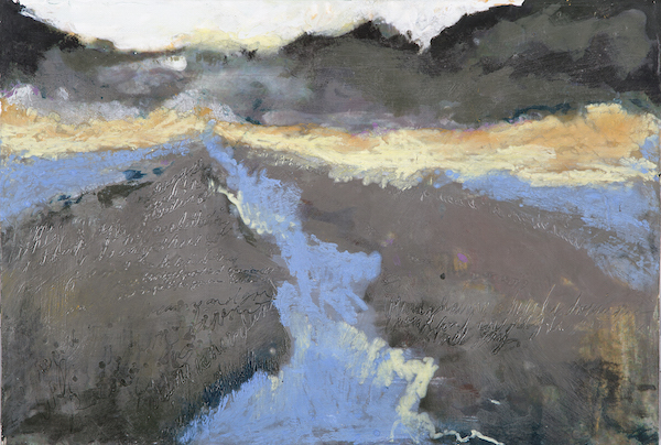 "Dawn Korman, Winter Ditch, 2011, encaustic on birch panel, 9"" x 13"""