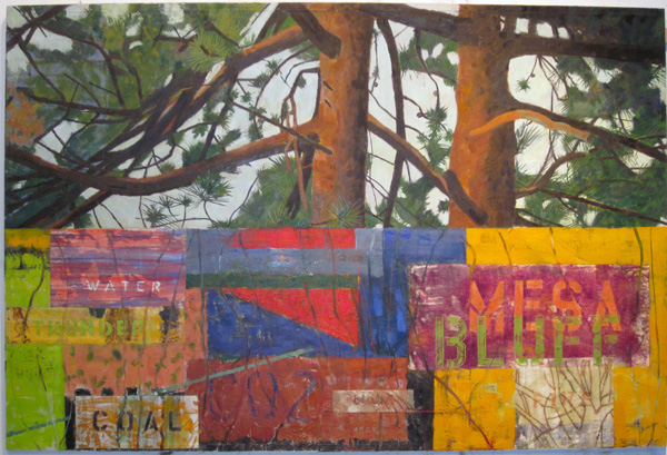 "Mark Lavatelli, Pine Bluff, 2012; oil, encaustic and collage on panel; 44"" x 66"""