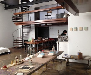 The artist in her residency studio at PointB