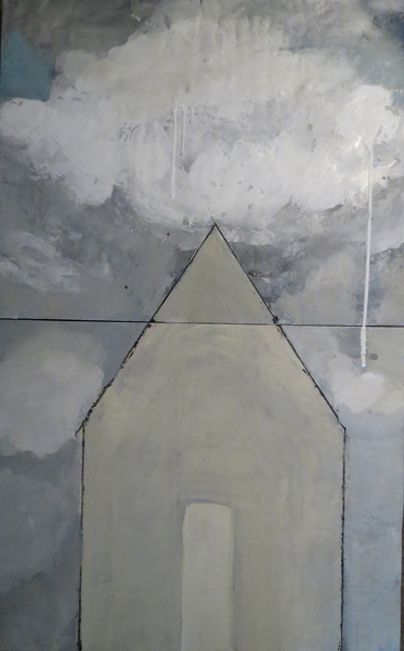 "Cherie Mittenthal, Cottage with Cloud, 2014, encaustic, 32"" x 20"""
