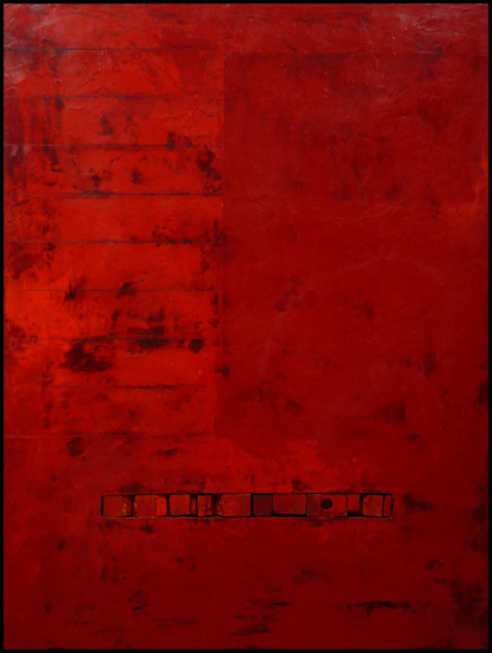 Graceann Warn, Red Contents, 2014; oil, beeswax, pigment on constructed panel; 40 x 30 inches
