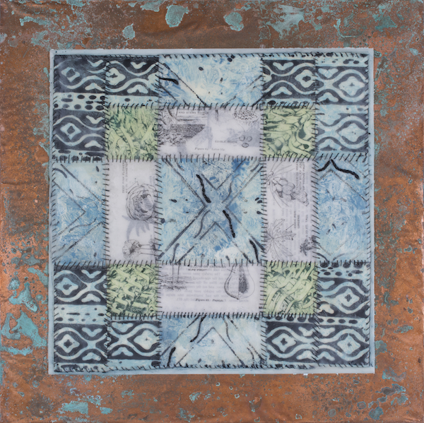 "Dawna Bemis, Antique Tile, 2014; encaustic, encaustic monotypes, book pages, hand stitching, embroidery and pigment stick on copper on panel; 16"" x 16"", Photography:  Jay York"
