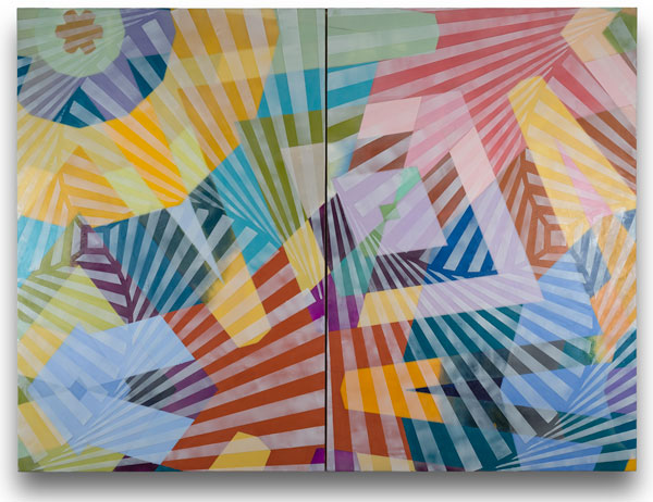"Karen Freedman, Ruche Off 0565.2, 2015, encaustic on wood panel, 30"" x 40"" (diptych)"