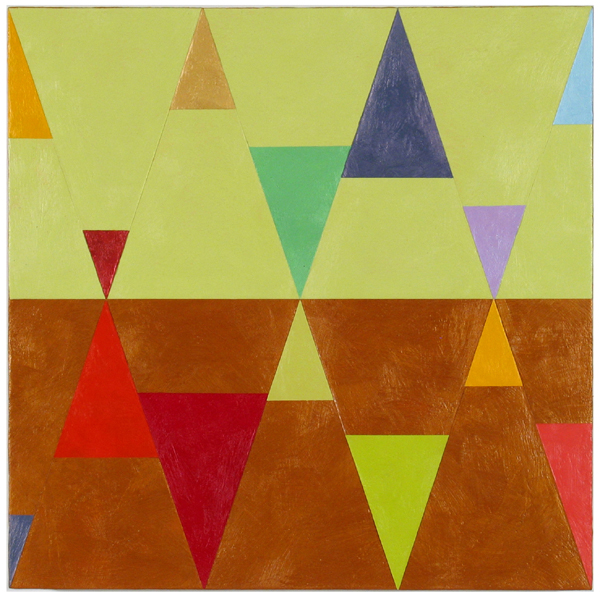 "Joanne Mattera, Chromatic Geometry 27, 2014, encaustic on panel, 18"" x 18"""