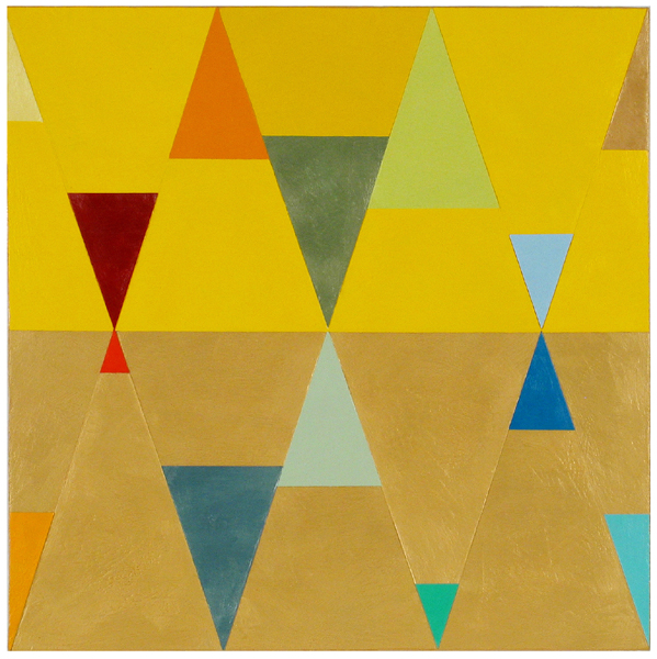 "Joanne Mattera, Chromatic Geometry 40, 2015, encaustic on panel, 18"" x 18"""