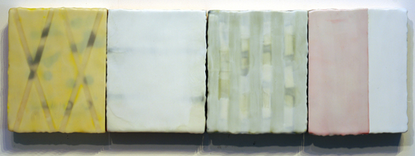 "Paul Rinaldi, Etude No. 18 Voices, 2012, encaustic on four panels, 10.2"" x 32.2"""