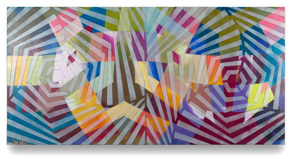 "Karen Freedman, Ruche Off 0507.6, 2014, encaustic on wood panel, 16"" x 32"""