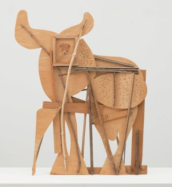 A clear vision across many mediums: Here, from the Picasso Sculpture exhibition at the Museum of Modern Art, New York City, through February 7, 2016: Bull, c. 1958; plywood, tree branch, nails, and screws, 46 1/8 x 56 3/4 x 4 1/8 inches. The Museum of Modern Art, New York. Gift of Jacqueline Picasso in honor of the Museum's continuous commitment to Pablo Picasso's art http://www.moma.org/visit/calendar/exhibitions/1559?gclid=COeJyr_1xMgCFUYXHwodkJsBBQ&gclsrc=aw.ds#related_events