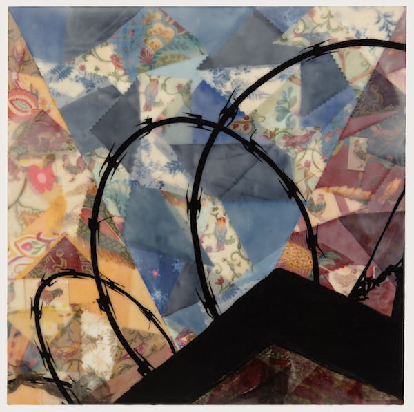Corina S. Alvarezdelugo, There's Nothing to Sing About, 2014; encaustic, textiles, transferred image, ink, oil pastel, pan pastel; 20 x 20 inches. Photography: Christopher Gardner