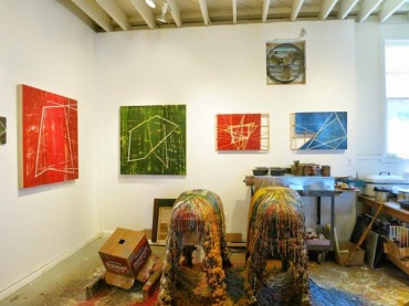 Ideas transcending medium: In this view of Howard Hersh's San Francisco studio in May 2015, we see paintings in encaustic (two at left) and constructions in acrylic and wood. Photo: Joanne Mattera Art Blog http://joannemattera.blogspot.com/2015/05/art-in-san-francisco.html
