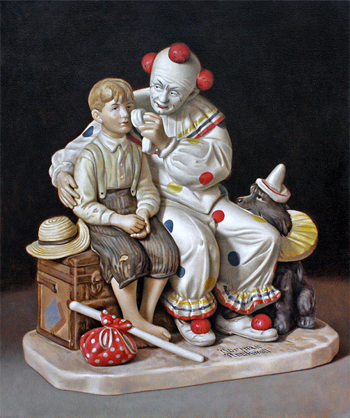 Kevin Frank, Untitled (Rockwell Clown), 2014, oil on canvas, 33 x 26 inches