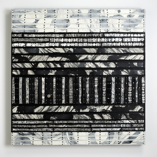 Nancy Natale, Barred, 2015; matboard, ink, treated aluminum, leather from handbags, tacks, encaustic on panel; 30 x 30 inches. Photography: John Polak Photography