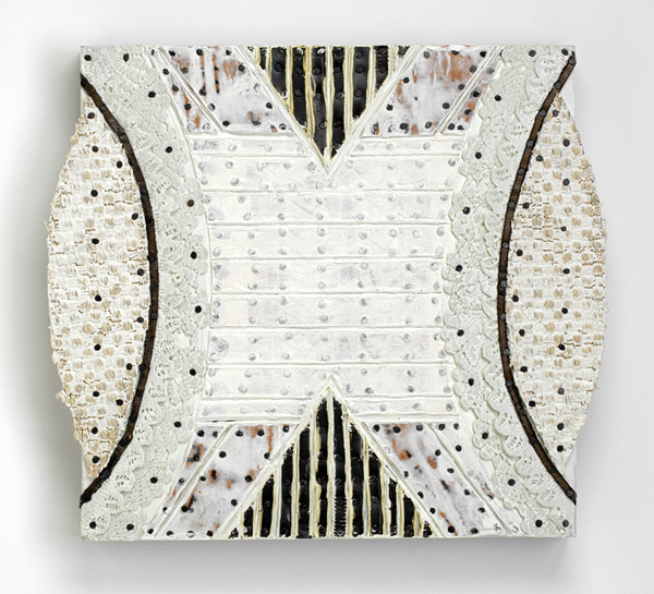 Nancy Natale, White Armor/Undies, 2013; cardboard, matboard, found lace, rubber, carpet, tacks, encaustic on panel; 16 x 17 inches. Photography: John Polak Photography