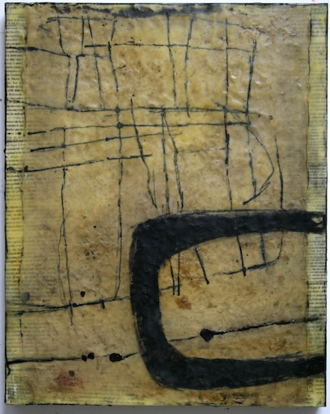 Gwendolyn Plunkett, Linear A3, 2013 on-going; repurposed book pages, Lokta paper, India ink, encaustic and oil bar on panel; 20 x 16 inches