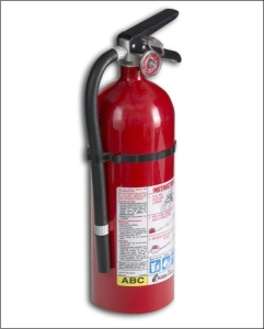 Example of a multipurpose fire extinguisher showing ABC rating. Note the dial at top that indicates the amount of pressure remaining