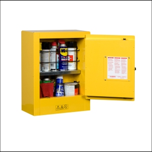 "To maximize safe storage, you can purchase a flammables safety cabinet for storing your gases and solvents, either directly from an industrial supply company or online from Amazon starting at about $250 for a 17"" x 22"" x 8"" cabinet"