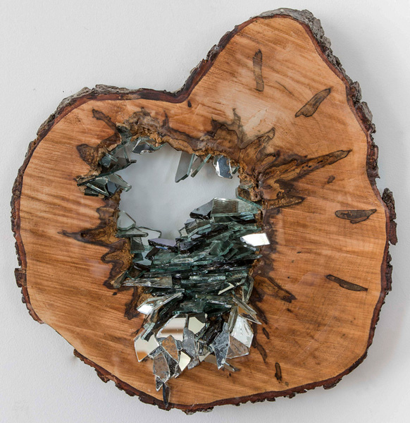 Christine S. Aaron, Vestige IV, 2015; wood, mirror shards, encaustic; 15.5 x 15.5 x 2 inches