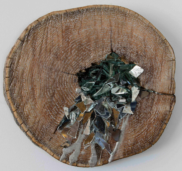 Christine S. Aaron, Vestige V, 2015; wood, mirror shards, ink, encaustic; 15.5 x 15.5 x 2 inches. Photos: David Wohl