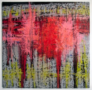 The Second Gate, 2015, encaustic and oil stick on wood panel, 29 x 29 inches
