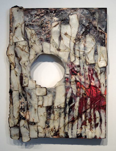 Deborah Kapoor, Peripheral Damage, 2015, encaustic and mixed media, 16 x 12 x 2 inches