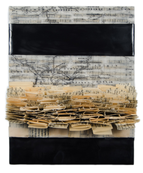Sarah E. Rehmer, positive/negative stories #2, 2015, encaustic and paper on panel, 8 x 10 x 4 inches