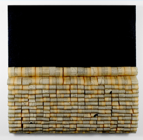 Sarah E. Rehmer, stitching stories #1, 2014; hand sewn paper with encaustic on canvas; 30 x 30 x 5 inches